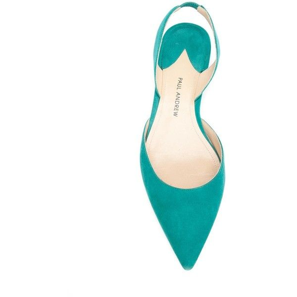 Paul Andrew 'Rhea' ballerinas ($770) ❤ liked on Polyvore featuring shoes, flats, paul andrew, paul andrew shoes, ballerina flats, ballet shoes and emerald green shoes