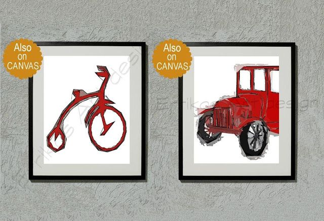 Kids Nursery Prints: Red car and bicycle vintage nursery decor, Set of ...