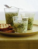 Cucumber and Onion Gazpacho with Grilled Fresh Garlic Chips  Recipe created by Rori Trovato    Cucumber-and-Onion-Gazpacho-with-Grilled-Fresh-Garlic-Chips