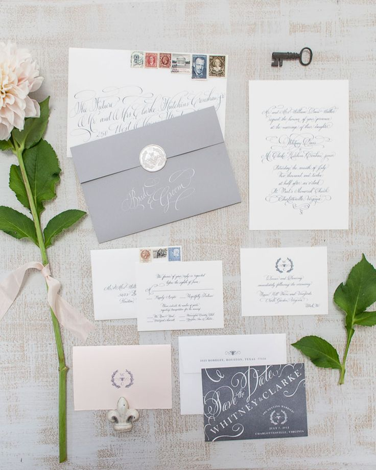 Chic Gray and White Calligraphy Wedding Invitation Suite | Patricia Lyons Photography | See More! http://heyweddinglady.com/beach-chic-white-silver-gray-hamptons-wedding-inspiration/