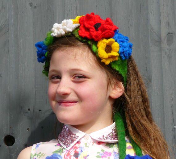 vilten bloem hoofdband, bloem kroon, tiara, fairy, pixie, elf, festival, vilten bloemen, handgemaakte, vilt, haaraccessoires, riem, wol