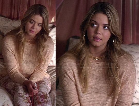 Ali's peach burnout sweater and floral jeans on Pretty Little Liars.  Outfit Details: http://wornontv.net/36257/ #PLL