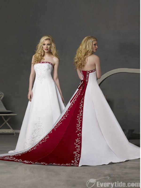 【Everytide Wedding Dress】Vintage White With Red Wedding Dress