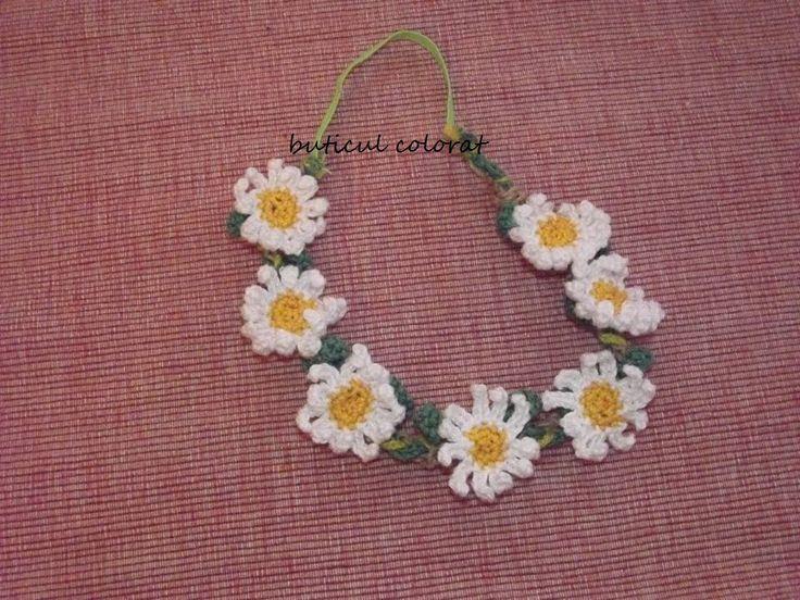 Flower Crowns, wild camomile, Boho Flower Headband, mini daisy crochet by ButiculColorat on Etsy