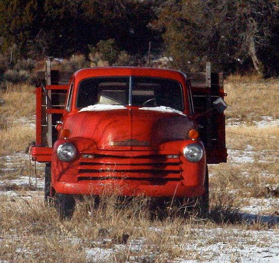 Old 1953 Chevrolet Truck Art Red Christmas Pickup photograph 8×8 square giclee Man Cave art vintage Chevy pickup truck abandoned