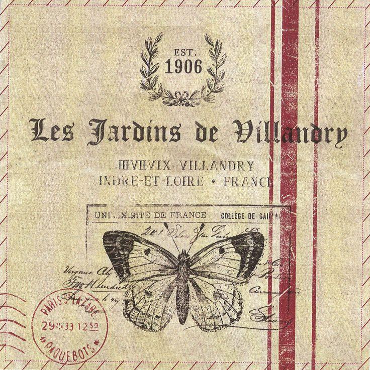 Postal rayas les jardins almohadon coronita sello arpillera