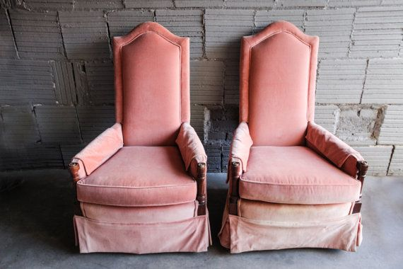 Vintage Pink Blush Velvet Chair Wingback End Chair by CushionFever