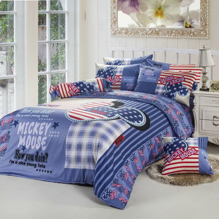 Mickey mouse american flag style blue disney bedding set for American flag bedroom ideas