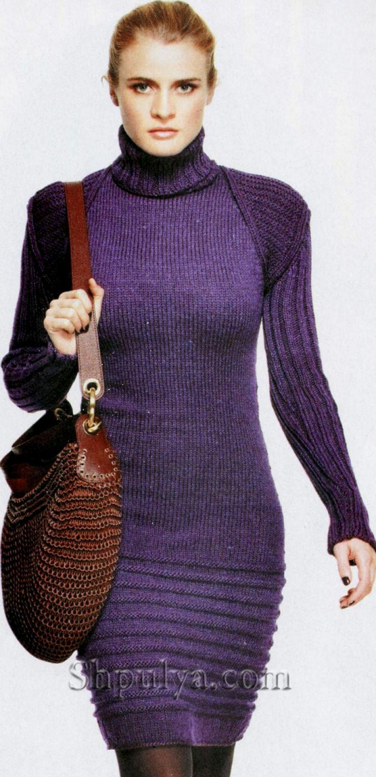 Темно-фиолетовое платье, вязаное спицами