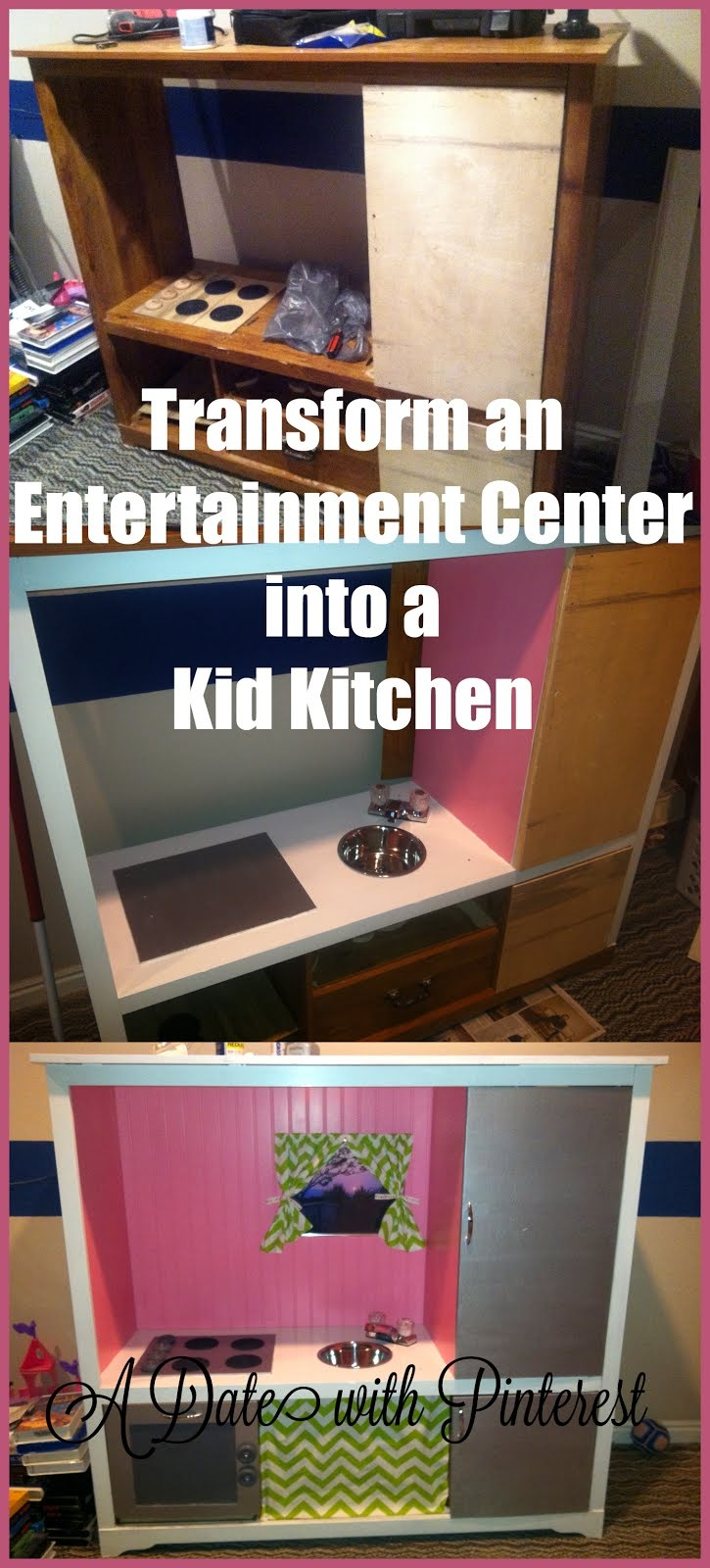Entertainment Center Kitchen. Transform an Entertainment Center into a Kid Kitchen. Loved making this for our girls. I love that it's big enough for them both to play with it at the same time. ~A Date with Pinterest