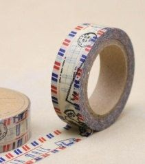DIY Removable Adhesive Masking Deco Washi Tape - Airmail Stamp. $3.00, via Etsy.