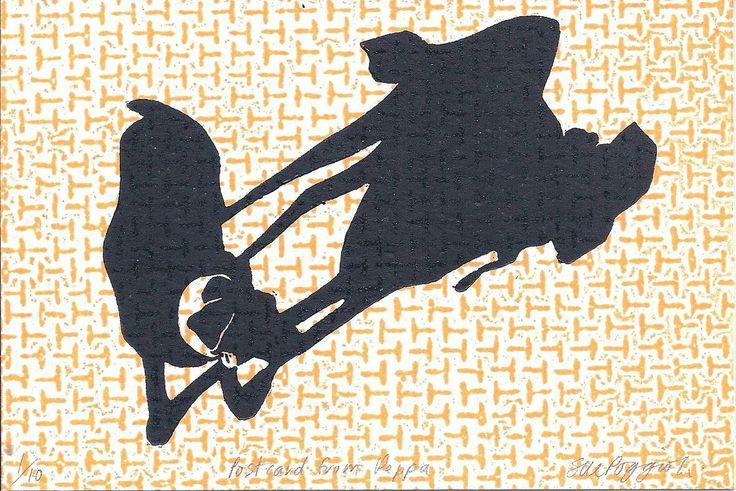 """Sue Poggioli. """"Postcard from Peppa"""", Lino  Collograph. $40.00"""