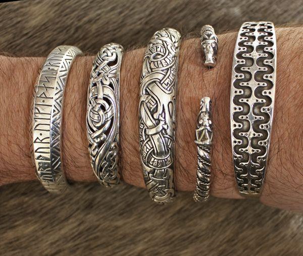 Original handmade Tibetan silver carved dragon man cuff bracelet