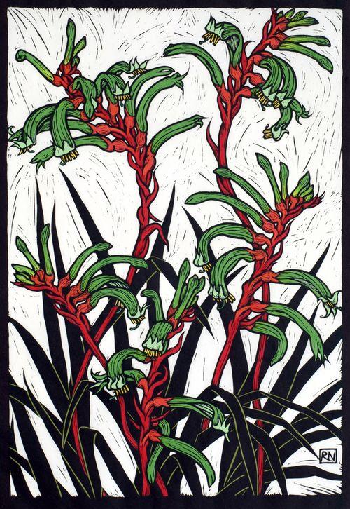 Kangaroo Paw 50.5 x 35 cm Edition of 50 Hand coloured linocut on handmade Japanese paper $850