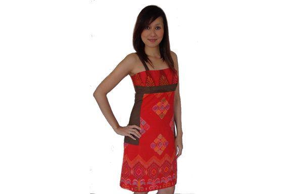 Brand New. Handmade Woven DressRed Orange.Loom by SignatureofNana