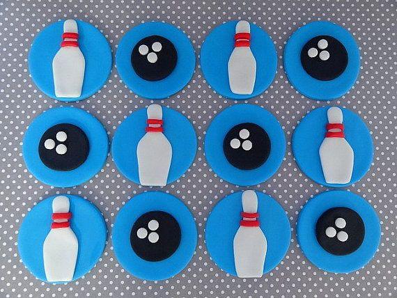 Fondant edible cupcake/cookie toppers - Bowling Theme