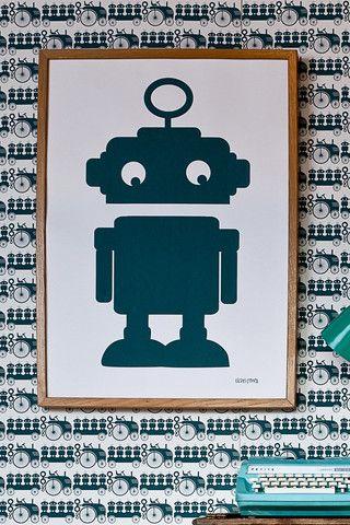 Robot Screen Print in Blue