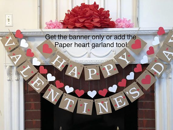 Happy Valentine/'s Day Bunting Banners Pennant Flags Garland Decor Cardstock