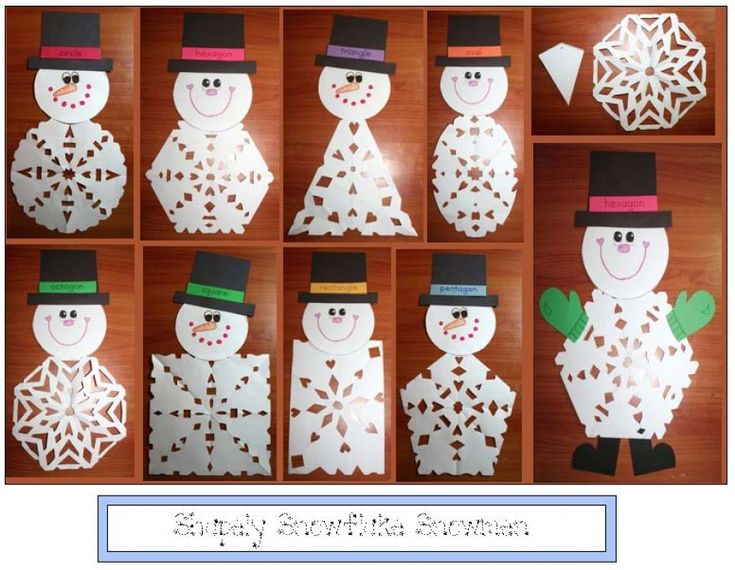 Shapely Snowflake Snowmen- Your students will enjoy choosing a 2D shape, folding and snipping it into a lacey snowflake that will become the tummy of their snowman. Includes directions, patterns and a list of helpful websites for more lovely paper snowflake activities.