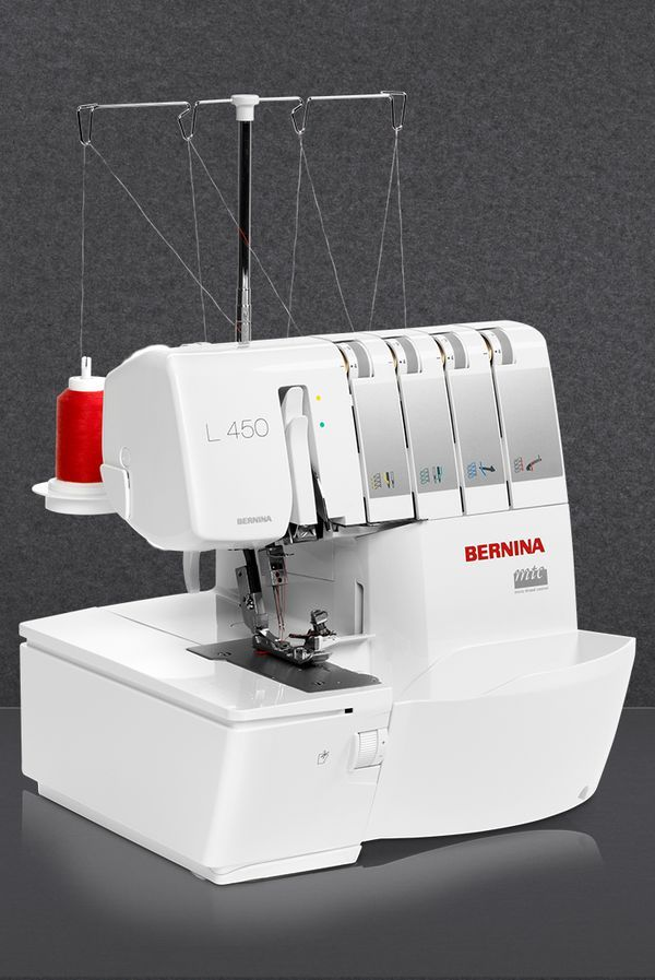 The BERNINA L 450 cuts, sews and finishes in a single step. With high-quality stitches and wave-free seams, it sews quickly and smoothly at any speed. It offers easy and ergonomic threading with the color-coded threading path and a well-lighted, large sewing space. [Promotional Pin]