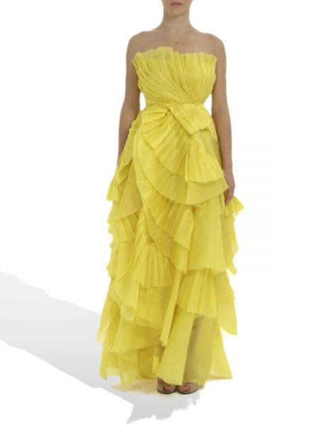 Silk strapless organza  dress by PARLOR! Wear the sun! #summer #parlor #yellow