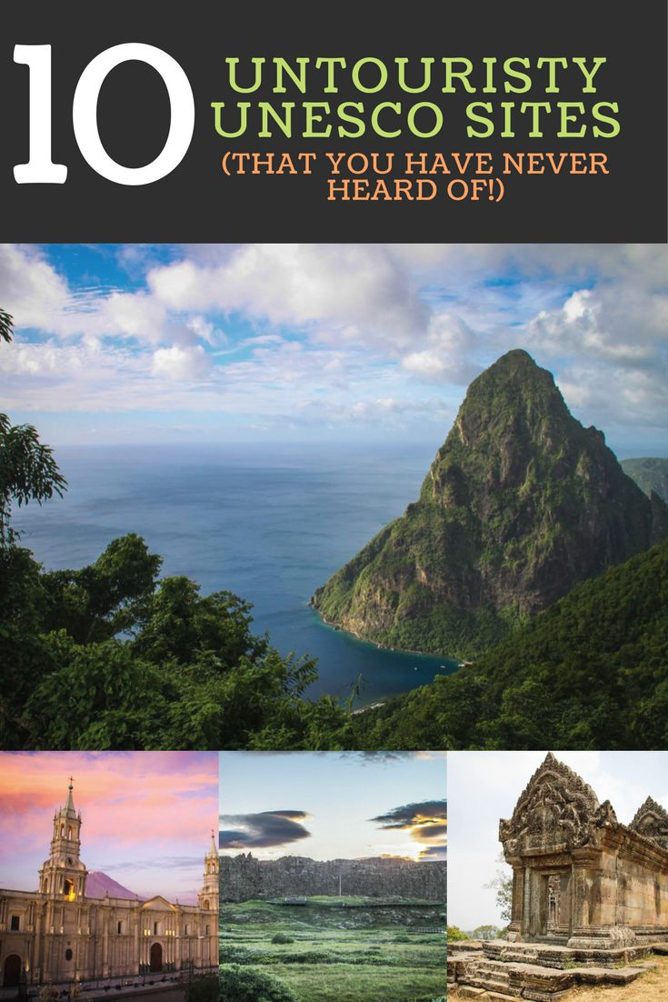 TOP TEN NON TOURISTY UNESCO SITES (THAT YOU HAVE NEVER HEARD OF!)!! A list to inspire travelling the world and exploring off-the-beaten track UNESCO World Heritage Sites.  #1 Pitons Saint Lucia #2 Wieliczka and Bochnia Royal Salt Mines #3: Historic City of Ayutthaya #4: Þingvellir National Park #5: Gondwana Rainforests of Australia #6: Wachau Cultural Landscape ☆☆ Travel Guide / Bucket List Ideas Before I Die By #Inspiredbymaps ☆☆ BUCKET LIST GLOBAL