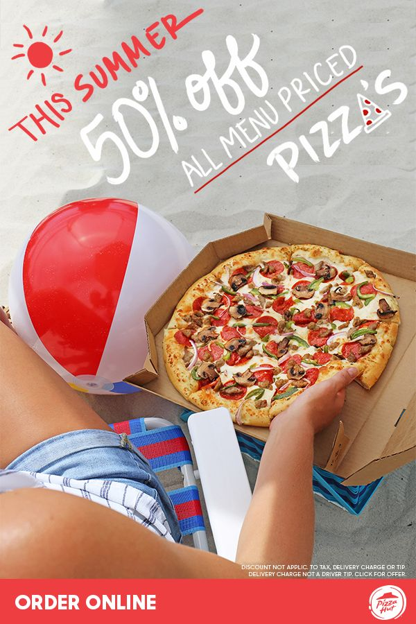 Get your summer pizza party started with 50% off all menu-priced Pizza Hut pizzas. Whether ordering for a sleep over, movie night or a family dinner, this deal allows you to get the pizzas everyone will enjoy. Available online only through 7/23.