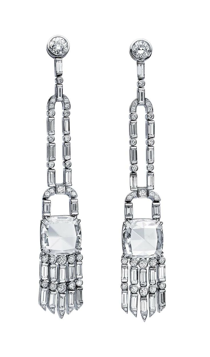 Martin Katz New York collection vintage style tassel earrings, set with cushion rose-cut, baguette and round diamonds, micro-set with diamonds in white gold.
