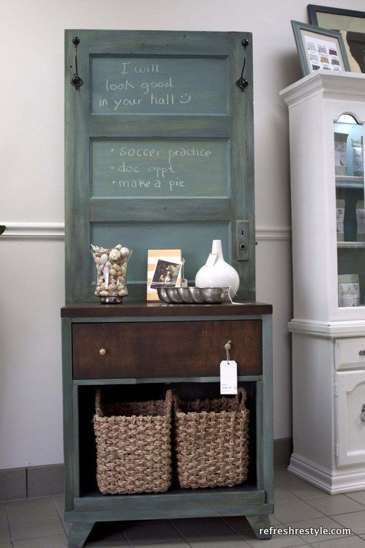 How to Make a Hall Tree - Welcome to reFresh reStyle! I like the idea of using an old door and painting it with chalkboard paint for a message center!