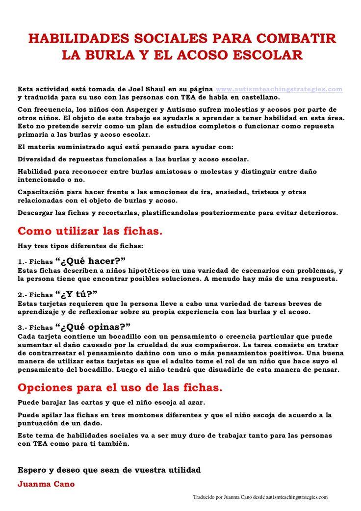 habilidades-sociales-para-combatir-la-burla-y-el-acoso-escolar by Juanma Cano via Slideshare