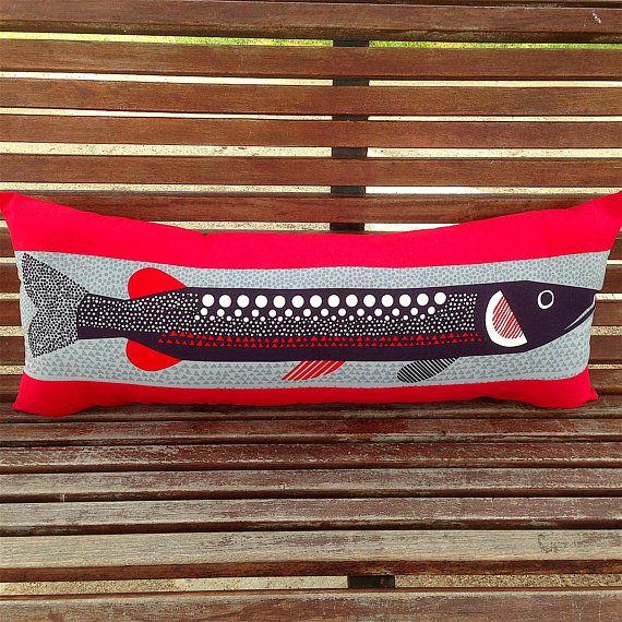Marimekko Fish Pillow Cover. Blue Fish. Red Pillow. Long Bench
