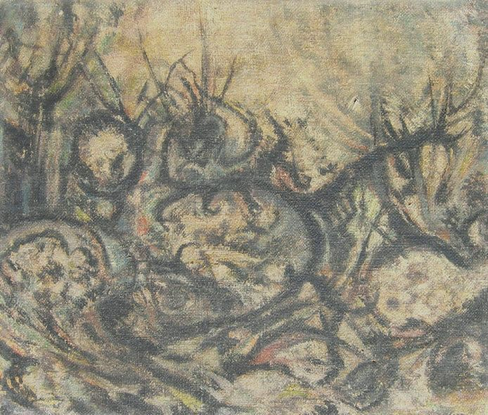 E. Besozzi pitt. 1962 Dopo la battaglia olio su tela di