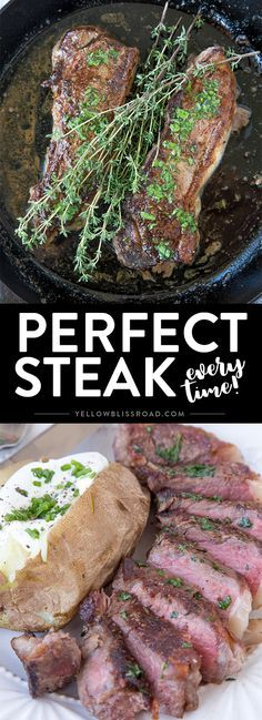 Pan seared steaks in a cast iron skillet. Get a perfectly tender and juicy steak every time with these 7 tips - don't skip that crucial last step! via @yellowblissroad