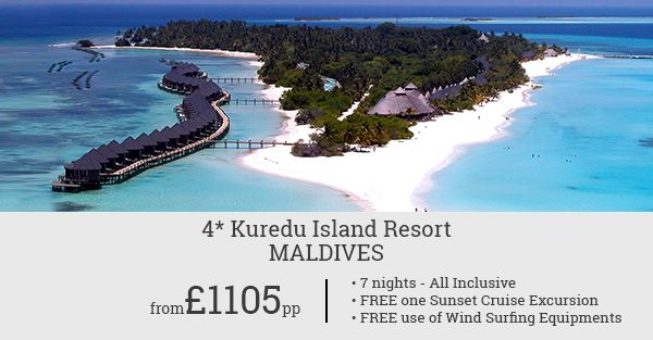 Check out this deal for a refreshing Holiday at Kuredu Island Resort Maldives. Complimentary Sunset Cruise Excursion and FREE use of Wind Surfing Equipment. Call now!