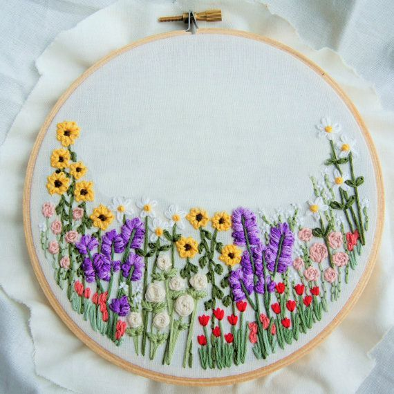 Customize this wildflower hoop with any phrase of your choice. PRODUCT DETAILS • Hand-stitched flowers and phrase - of your choice - to an ivory