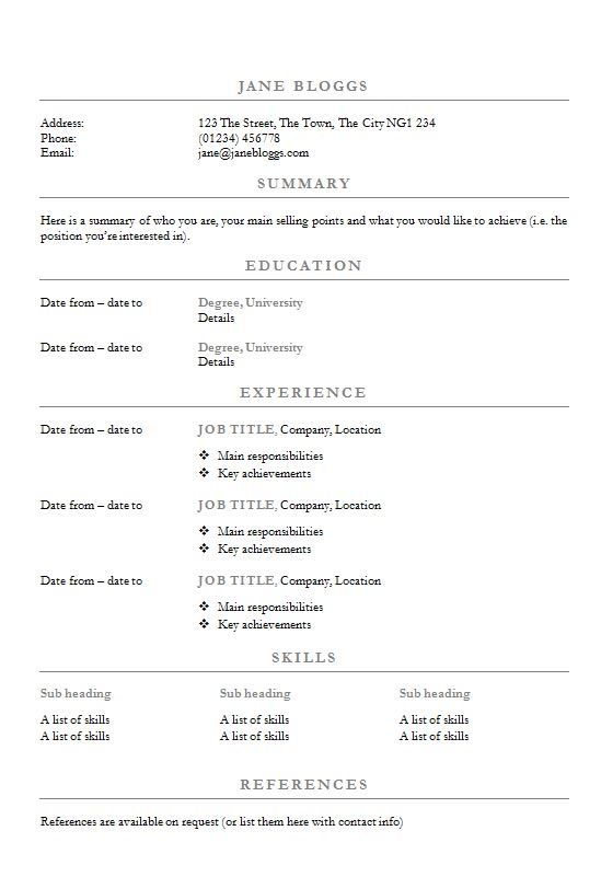 centred headings cv  r u00e9sum u00e9 template