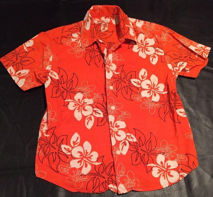 Boys Hawaiian Shirt Size 6 / 7 Orange Floral Vacation Beach Hawaii Vintage Wash  | eBay