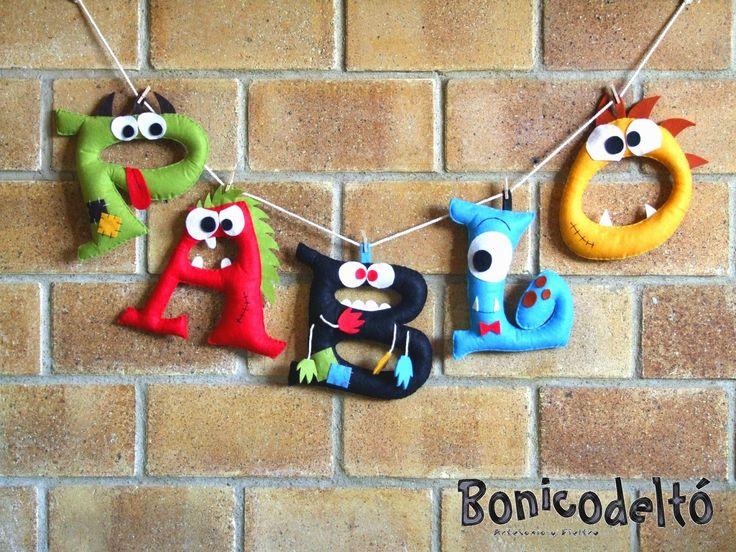 Nombre monstruoso, letras de fieltro, monstruos divertidos, Bonicodeltó artesanía y fieltro Hand made, felt
