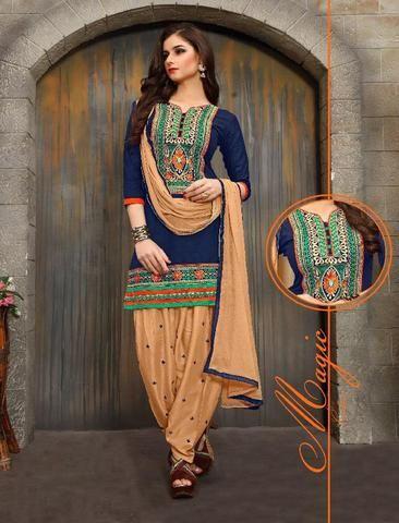 KESARIYA FASHION-Cream and Navy Blue Color Cotton Unstitched Salwar Kameez - 1237 - 4352