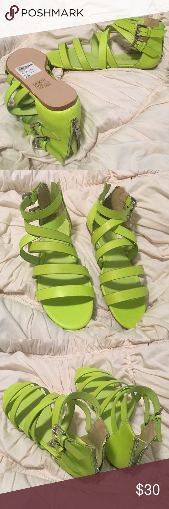Topshop brand new w tags neon leather sandals Brand new topshop neon sandals with silver hardware. New with tags. Topshop Shoes Sandals