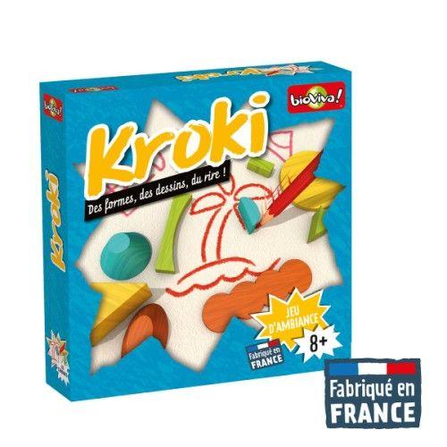 Disputer une partie de Kroki consiste à faire deviner un mot à son équipe à l'aide d'une feuille de papier, un crayon et différentes formes en bois. Le gagnant n'est pas la personne dessinant le mieux, c'est la plus rapide et celle qui saura s'aider des formes.