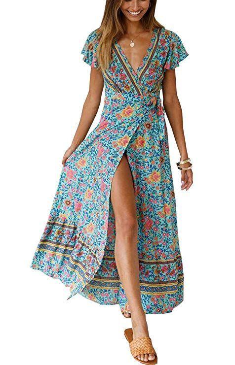488c15d1e0 Women's Summer V Neck Wrap Vintage Floral Print Short Sleeve Split Belted  Flowy Boho Beach Long