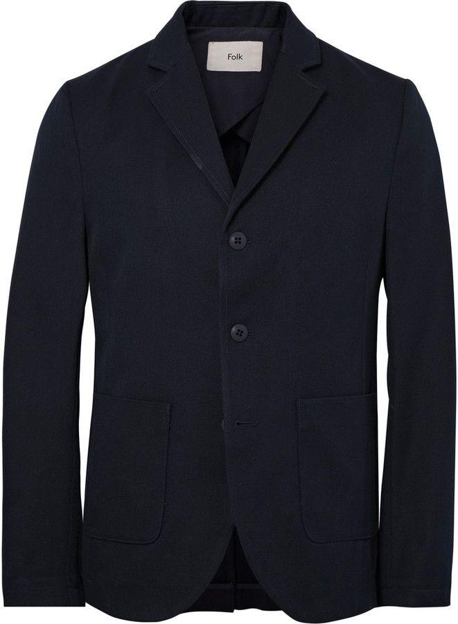 Folk Blue Unstructured Cotton-Blend Twill Blazer
