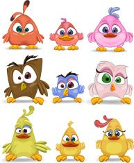Birds cartoon caracters