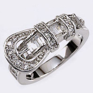 CZ BELT BUCKLE RING (Choose Size) by MyFashionVille on Opensky