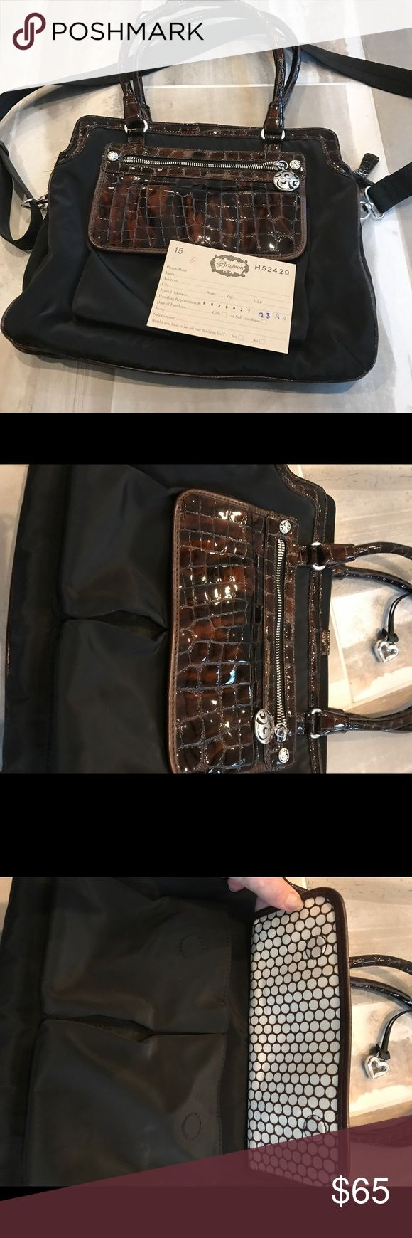 """Brighton brown and black small Handbag/Briefcase Perfect use for a small briefcase/book bag. Like brand new.  Only carried a few times. Approx 13 1/2"""" wide by 11"""" tall Brighton Bags Totes"""