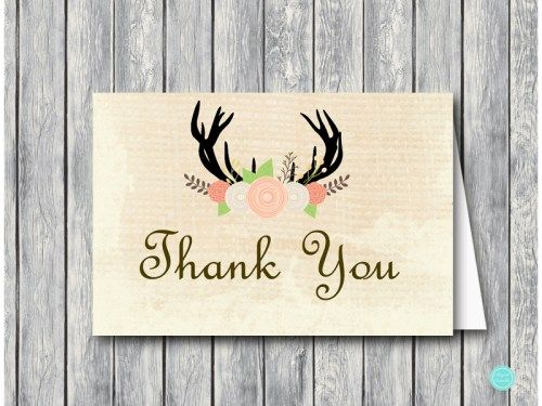 tlc21 Thank You Card Foldable rustic antler thank you cards