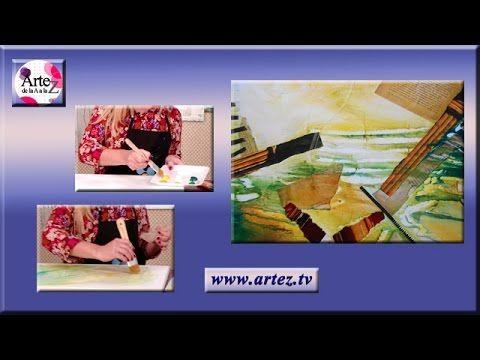 Composicion abstracta: collage y acrilicos (I)