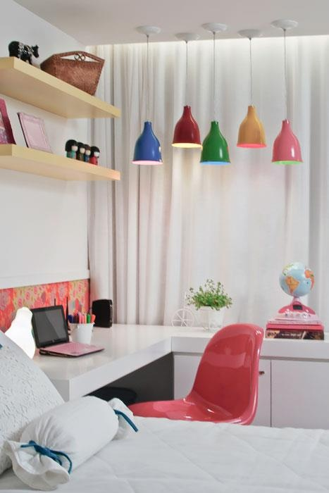 Study desk. Love the coloured pendant lights & pink chair!