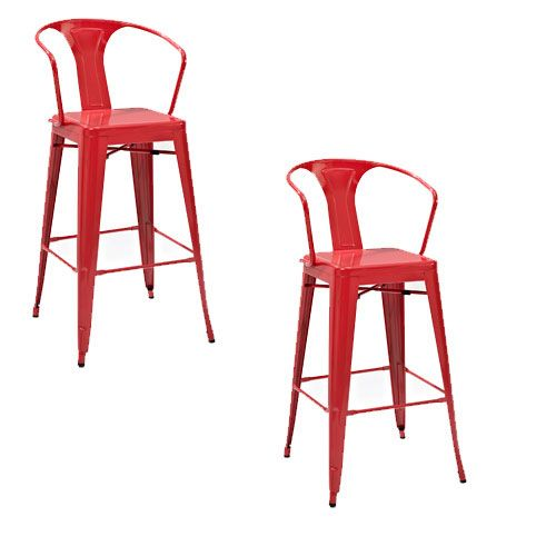 Amelia Metal Cafe Barstool with Back in Red, Set of Two
